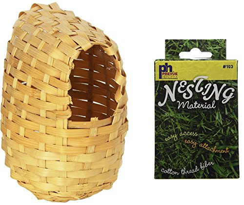 Prevue Pet Products Large Bamboo Covered Breeding Nest Hut for Birds, Plus a Box of Cotton Thread Fibers Bird Nesting - Material Box Nesting
