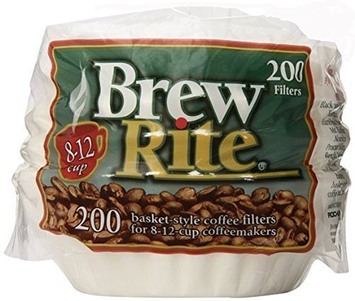 Brew Rite Basket Style Coffee Filters 8-12 Cups, 200 Ct. (Filter Style Basket Coffee)