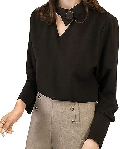 VJGOAL Moda para Mujer Color sólido Cuello Pico Camisa de Manga Larga Casual Blusa Coreana Suelta Tops: Amazon.es: Ropa y accesorios