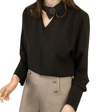 VJGOAL Moda para Mujer Color sólido Cuello Pico Camisa de ...