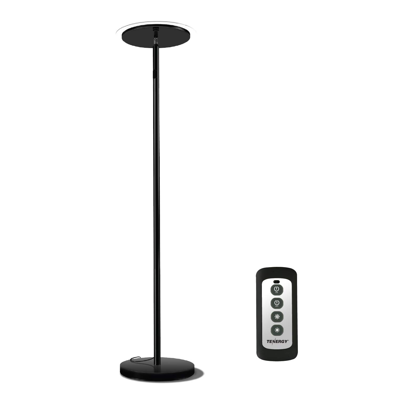 Tenergy Torchiere Dimmable LED Floor Lamp, Remote Controlled 30W (150W Equivalent) Standing Lamp with Stepless Touch Dimmer, Two-Part Trip-Proof Cable, 90° Adjustable Top, Warm White Light by Tenergy