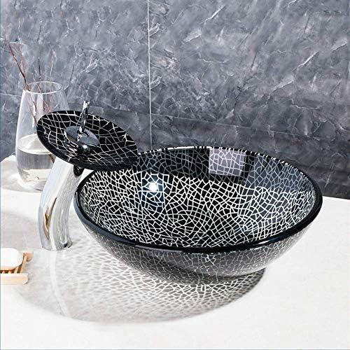 ハンドペイント浴室黒いアート洗面強化ガラス容器シンク滝オイルラビングブロンズ蛇口セット,操作簡単