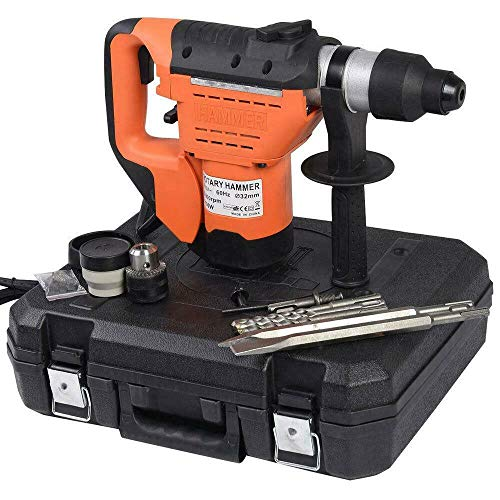 Cypress Shop Hammer Drill Electric Rotary Kit 1-1/2 inch 110 Volt 1100 Watts SDS Plus High Speeds 900 RPM Drill Bits & Flat Chisel Concrete Work Power Hand Tools Workshop Equipments