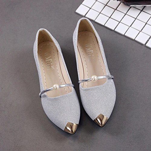 erthome Women Pointed Toe Ladies Shoes Casual Low Heel Flat Shoes Outdoor 1 Pair Silver 3RFXYooB7