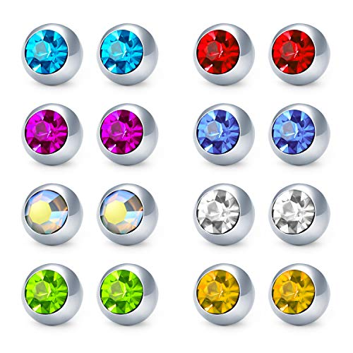 MODRSA Replacement Ball for Body Jewelry Stainless Steel & Clear Acrylic Crystal CZ Ball for 14G Piercing Bar Barbell Studs Parts Diameter 5mm 8mm