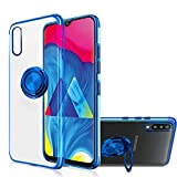 Galaxy A70 Case, [360° Ring Stand] Crystal Clear [Electroplated Metal Technology] Silicone Soft TPU [Shockproof Protection] Thin Cover Compatible with Samsung Galaxy A70 (Blue, A70) MingWei