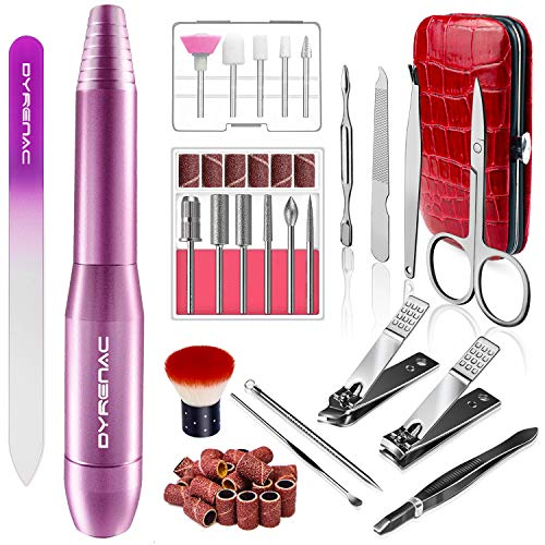 Portable Electric Efile Nail Drill Kit, Professional Nail Drill Machine for Acrylic, Gel Nails, Polishing Shape Tools for Home Salon Use, with Changeable Drills Bits and Sand Bands (Purple)