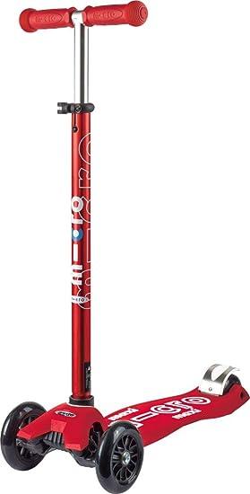 Micro Maxi Deluxe, Patinete 3 Ruedas, 5-12 Años, Carga Máx 70kg, Peso 2,5kg (Rojo)