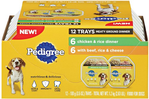 Pedigree Assorted Mulitpack 12ct- 6 units Chicken and Rice, 6 units Beef, Rice, Cheese, My Pet Supplies