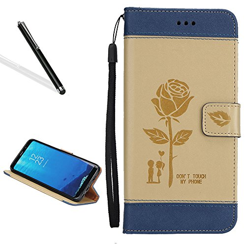 Case for Galaxy J3/J3 2016,Bookstyle Flip Case for Samsung Galaxy J3/J3 2016,Leecase Creative Stitching Color Rose Flower Lover Wrist Strap Magnetic Case Cover for Samsung Galaxy J3/J3 2016-Khaki