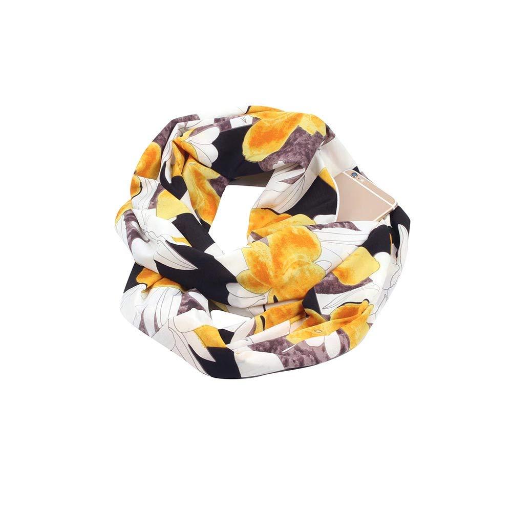 Fashion Women Fall Winter Print Convertible Infinity Scarf Zipper Pocket Scarves