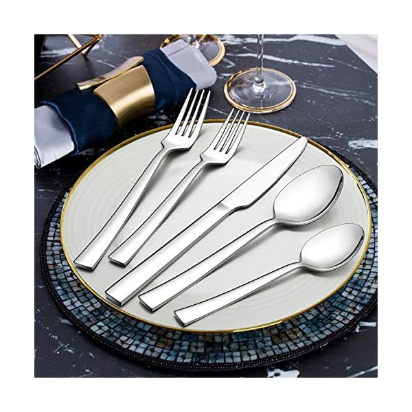 LIANYU 40-Piece Silverware Set, Stainless Steel Square Flatware Cutlery Set for 8, Eating Utensils Tableware Include… 4