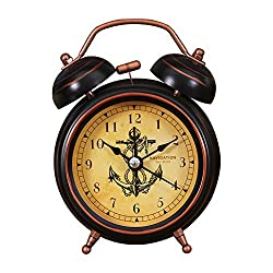 Foyou 3 Inch Mini Analog Quartz Non Ticking Metal Twin Bell Alarm Clock with Nightlight and Loud Sound ( Anchor )