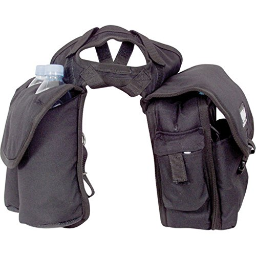 Cashel Quality Deluxe Medium Horse Saddle Pommel Horn Bag, Insulated Padded Pockets, Two Water Bottle Pockets, Camera or Cell Phone Pocket, 600 Denier Material, Size: Medium Color: Black