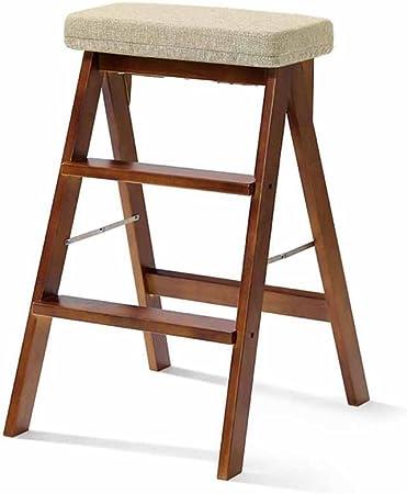 Taburetes Escalera Escalera Plegables de Madera Maciza 2 Cocina de Cocina pisada Multifunción Compacta de Doble Uso Banqueta Simple Alta con Almohadilla Capacidad de 100 kg (Color: Nuez): Amazon.es: Hogar