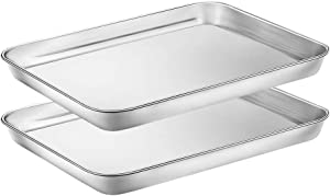 WEZVIX Stainless Steel Baking Sheet Set of 2 Tray Cookie Sheet Toaster Oven Pan Rectangle Size 10 x 8 x 1 inch, Non Toxic, Rust Free & Less Stick, Thick & Sturdy, Easy Clean & Dishwasher Safe