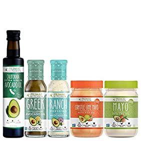 Primal Kitchen - Whole 30 Kit | Mayo, Chipotle Lime Mayo, Extra Virgin Avocado Oil, Greek Vinaigrette and Marinade, Ranch Dressing