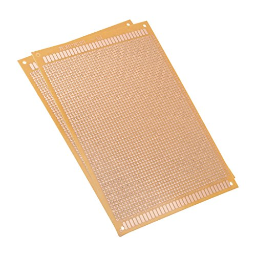uxcell 12x18cm Single Sided Universal Paper Printed Circuit Board Thickness 1.2mm for DIY Soldering Brown 2pcs