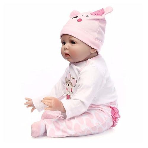 Muñeco hecho a mano, 55 cm, realista, recién nacido, bebé de vinilo de silicona, regalo de Navidad o de cumpleaños