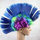 Easyinsmile Rainbow Mohawk Wig Hallowmas Masquerade Punk Mohican Hairstyle Cockscomb Hair Cosplay Wig (sapphire)