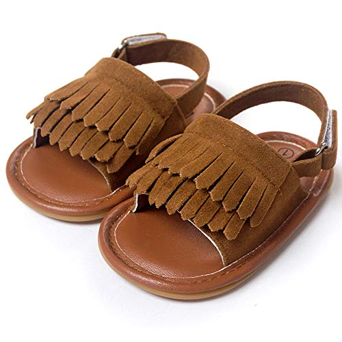 (LIVEBOX Infant Baby Girls Moccasins Tassels Premium Soft Rubber Sole Anti-Slip Summer Prewalker Toddler Sandals (L: 12~18 Months, Chocolate))