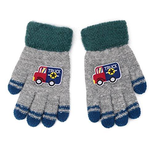 Flammi Kids Winter Knit Gloves Cartoon Truck Full Finger Gloves (Grey)