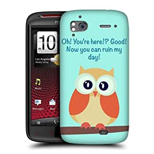 Head Case Designs Orange Wing Mean Owl Protective Snap-on Hard Back Case Cover for HTC Sensation XE Sensation by ruishername