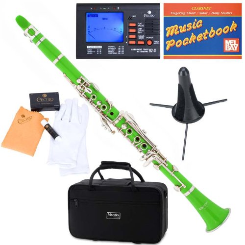 Mendini ABS B-Flat Clarinet, Green and Tuner, Case, Stand, Pocketbook - MCT-G+SD+PB+92D Mendini by Cecilio