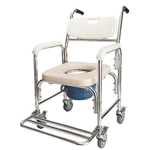 - MallMall Aluminum Medical Commmode Wheel Chair 4 in 1 Multifunctional Professional Chair Commode Bath Shower Chair Bedside Chair Wheel Chair Ordinary sofa chair Heavy Duty 300 LBS