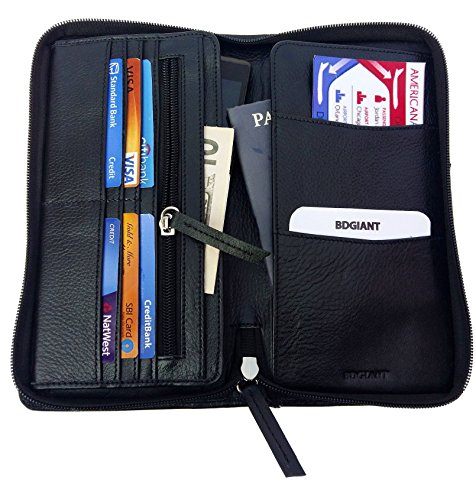 Price comparison product image All in One Zip Around Leather Passport Holder & Organizer Case- Travel Wallet-black