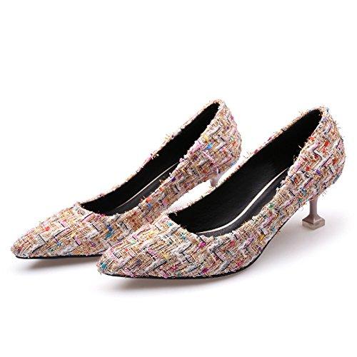 de agua de punta 37 taladro así alto superficial fina chica Beige solo zapatos el Boca color tacón 7qX4wORa