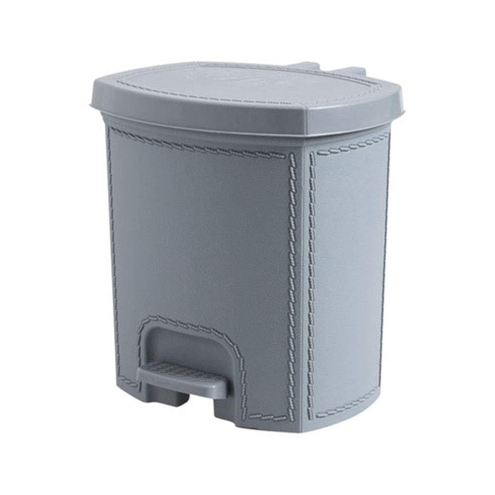 Trash can Pedal Cestino può Creativo Soggiorno Flip Piccolo Cesto di Carta Cucina del Bagno di casa Coperto di Spazzatura (Color : Gray, Dimensione : S) mx