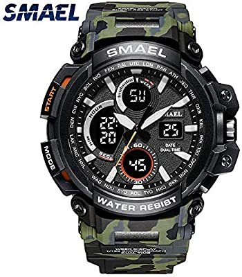 Amazon.com: Mens Sports Analog Quartz Watch Dual Display Waterproof Digital Watches with LED Backlight relogio Masculino El Movimiento de Los relojes: ...