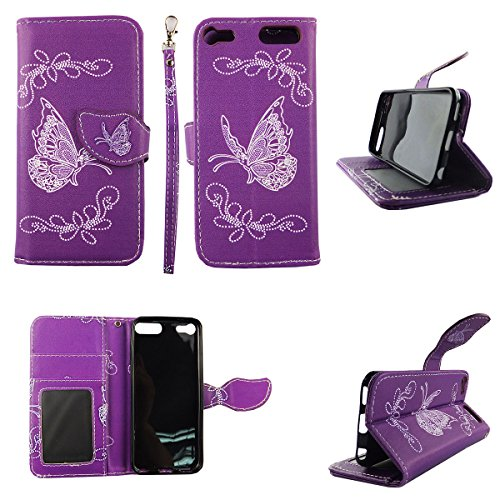 White Butterfly Purple Wallet Folio Case for Ipod Touch 5 6 5th 6th Dual Layer Interior Design Flip PU Leather Cover Card Cash Slots & Stand (Purple Camo Cases For Ipod 5)