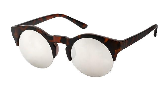 Lunettes rondes style RétroSuperFuture miroir-7807 écaille marron, verre miroir gris