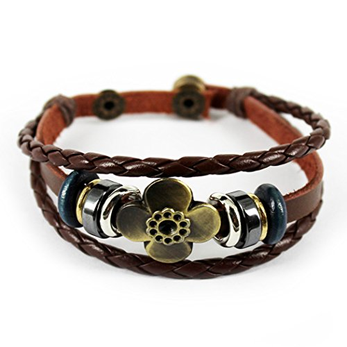 Real Spark(TM) Christmas Gift Vintage Flower Rings Button Adjustable Woven Leather Wrap Bracelet ()