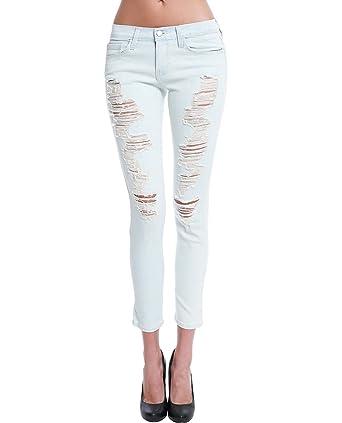 99ede0b5fa4 Flying Monkey ShopPiin Light Denim Washed Distressed Cropped Skinny Jeans  (29)