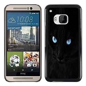 Paccase / SLIM PC / Aliminium Casa Carcasa Funda Case Cover para - Blue Eye Black Cat - HTC One M9