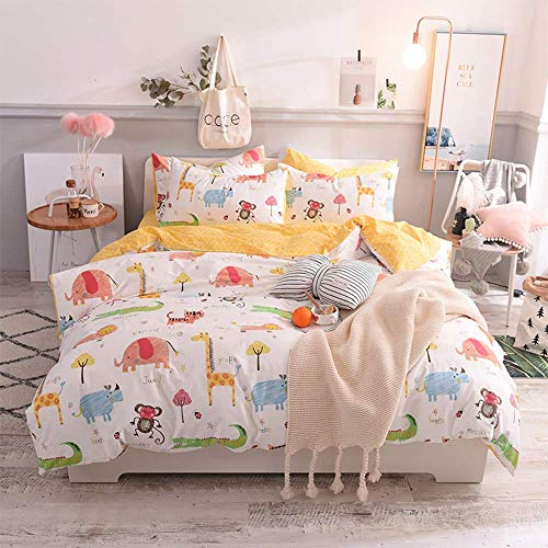Toys Studio 3 Pieces Kids Duvet Cover Set 100% Cotton Cartoon Animal Print Bedding Sets with Zipper Closure, Breathable Material Bedspreads for Boys Girls (Zoo, Queen)