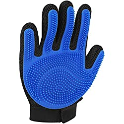 Flexzion Pet Grooming Glove Right Hand 1 Piece - Gentle Efficient Touch Deshedding Brush Hand Glove Hair Remover Mitt Massage Tool with Soft Rubber Tips for Dog Cat Horses with Long Short Fur (Blue)