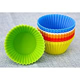 Soft Silicone Round Cake Muffin Pudding Jelly Chocolate Cupcake Mold(2Pcs: Random Color)