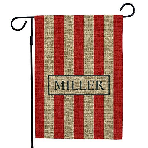 Personalized Patriotic Stripes Burlap Garden Flag, 18