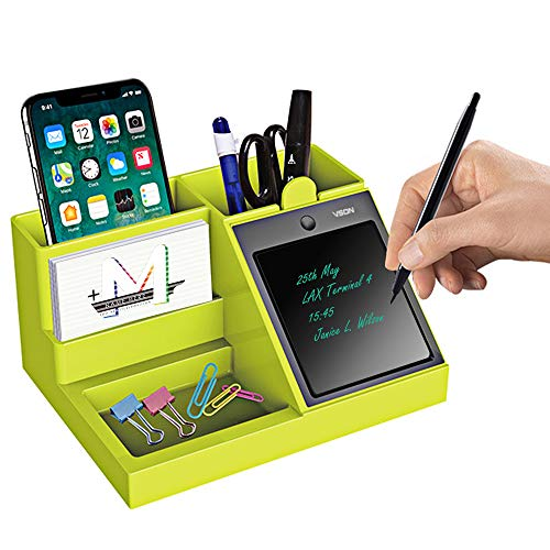 Pen Holder with Phone Holder Desk,Jree Ash Pencil Holder with Cell Phone Stand,Pen Container with LCD Writing Tablet for Desk,Multifunction Desktop Storage Box for Home,Office,Students(Green)