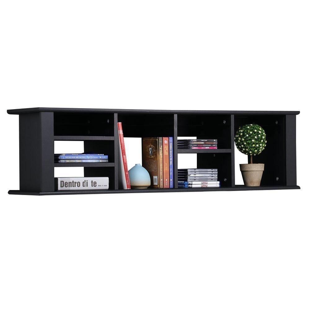 Topeakmart 48'' Wall Mounted Hanging Desk Hutch Floating Media Storage Cabinet w/7 Storage Compartments (Black)