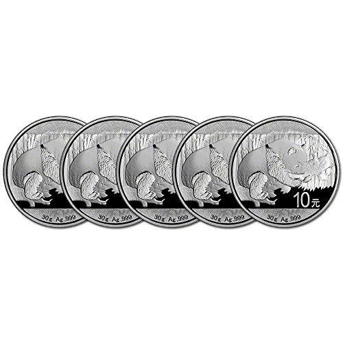 Panda Coin Set (CN 2016 China Silver Panda Five 5 (30 g) Coins Brilliant Uncirculated)