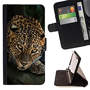 DEVIL CASE - FOR LG OPTIMUS L90 - Leopard Big Cat Feline Animal Nature - Style PU Leather Case Wallet Flip Stand Flap Closure Cover