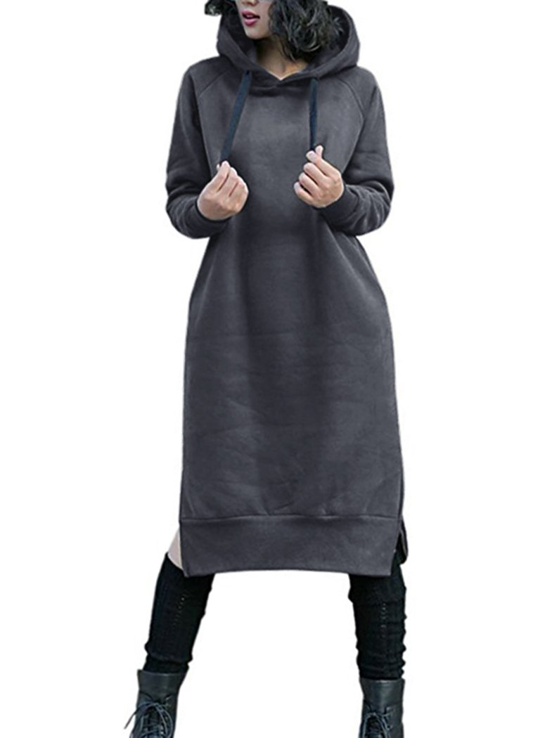 NUTEXROL Women's Thickening Long Fleece Sweatshirt String Hoodie Dress Pullover Plus Size,Dark Grey,Large by NUTEXROL