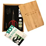 "Bonsai Tree Starter Tool Kit in Bamboo Box by Tinyroots. ""Anti-Intimidation"" Starter Kit includes 101 Bonsai Tips Book, Butterfly Shears, MicroTotal Micronutrient Supplement, Fertilizer, Aluminum Wire, Mudman Figurine & Gorgeous Bamboo Storage Box"