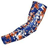 Moisture Wicking Sports Compression Arm Sleeve - Youth & Adult Sizes - Baseball Football Basketball (Royal Blue-Orange-White Digital Camo, YL)