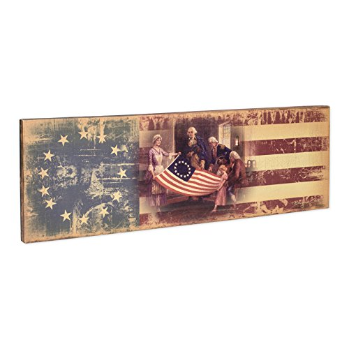 American Grand Old Flag Vintage LED Light-Up 28 x 9 Inch Canvas Wall Plaque